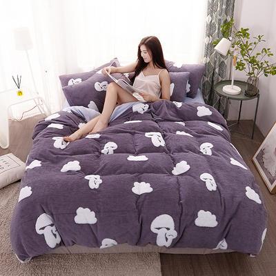 2020新款高克重舒棉绒单品被套枕套 单枕套/对 蘑菇云