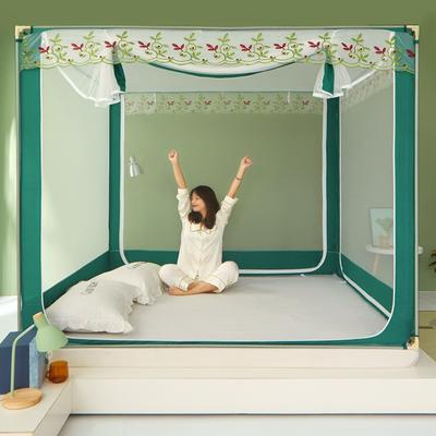 2021新款坐床蚊帐刺绣花边系列-叶子款 1.2*2.0 叶子-绿