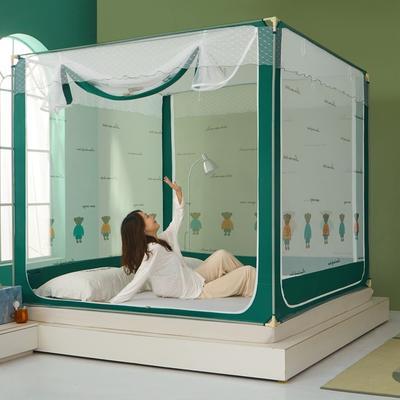 2021新款坐床蚊帐印花系列印花款 1.5*2.0 小熊印花-绿