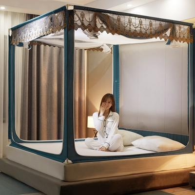 2021新款坐床蚊帐刺绣花边系列  风韵 1.2*2M(3.3英尺)床 风韵—蓝绿