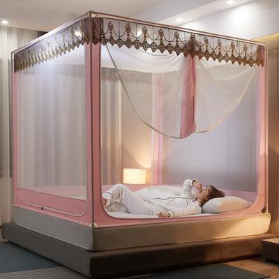 2021新款坐床蚊帐刺绣花边系列  风韵 1.2*2M(3.3英尺)床 风韵—嫩粉