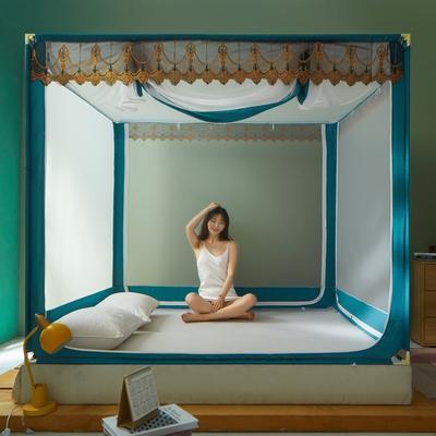 2021新款坐床蚊帐刺绣花边系列  风韵 1.2*2M(3.3英尺)床 蓝绿新
