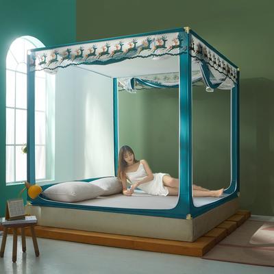 2021新款坐床印花款蚊帐—双鹿系类 1.2m(4英尺)床 双鹿—蓝绿