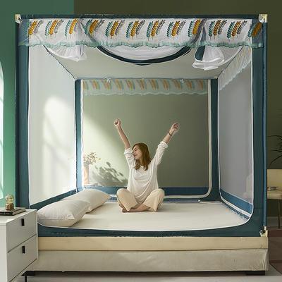 2021新款坐床蚊帐刺绣花边系列—麦穗 1.5*2.0m单遮光防尘顶 麦穗-灰蓝