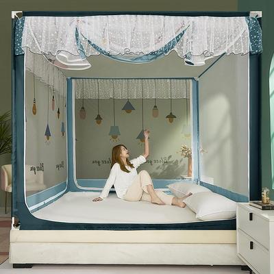 2021新款坐床蚊帐刺印花边系列—祝福灯 1.5*2.0m单遮光防尘顶 灰蓝
