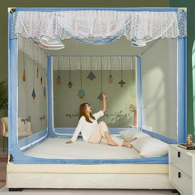2021新款坐床蚊帐刺印花边系列—祝福灯 1.5*2.0m单遮光防尘顶 天空蓝