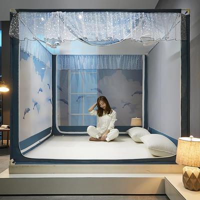 2021新款坐床蚊帐刺印花款-海豚 1.8*2.0m单遮光防尘顶 海豚-灰蓝