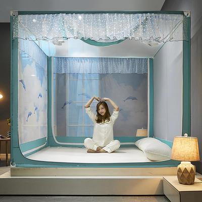 2021新款坐床蚊帐刺印花款-海豚 1.5*2.0m单遮光防尘顶 海豚-碧水绿