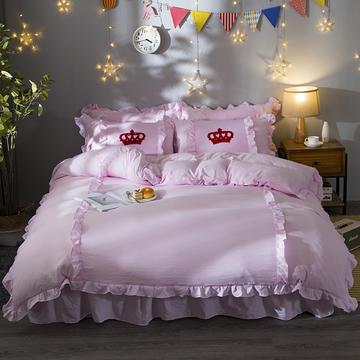 2018新款公主风拼色水洗棉床裙四件套 1.2m(4英尺)床 纯粉