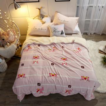 西人岛家纺 新款双层法莱绒羊羔绒毛毯 冬季加厚空调毯子 100*130cm 条纹粉红豹