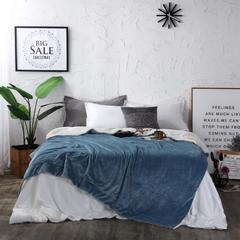 2018新款-双层法莱绒羊羔绒素色毛毯 冬季加厚空调毯子 100*130cm 孔雀蓝