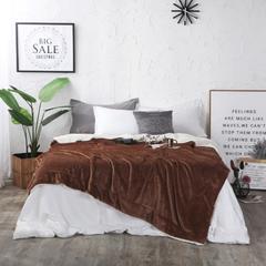 2018新款-双层法莱绒羊羔绒素色毛毯 冬季加厚空调毯子 100*130cm 太妃咖