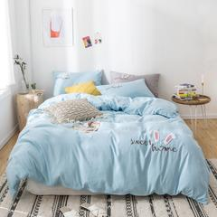 西人岛 2019新款网红ins风韩版兔耳朵毛巾绣四件套 1.2m(4英尺)床 天青色