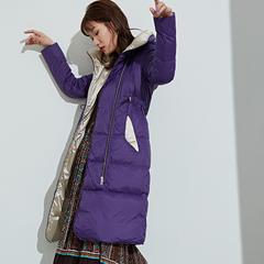 95鹅绒服 百思寒新款长款过膝修身纯色收腰加厚保暖外套连帽潮(清仓) XXL(175/96A) 魅紫色