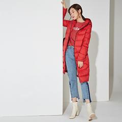 95鹅绒服 百思寒新款连帽长款轻薄过膝中长款   袖子斜切 六边形绗缝 拼接工艺 XL(170/92A) 正点红