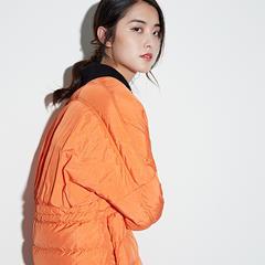 95鹅绒服 百思寒中长款韩版潮宽松时尚鹅绒服 XL(170/92A) 幻橙色