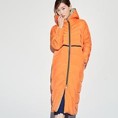 95鹅绒服 百思寒加厚长过膝韩版双面穿鹅绒服 S(155/80A) 幻橙色