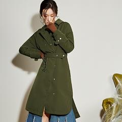95鹅绒服 百思寒长款过膝风衣轻薄宽松冬季时尚风衣 风衣羽绒 帅气和柔美的合一 XL(170/92A) 深绿