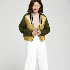 95鹅绒服 百思寒时尚棒球领轻薄羽绒服女短款外套显瘦保暖外套 XL(170/92A) 青金色