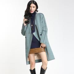 95鹅绒服 百思寒保暖加厚防寒个性中长款修身显瘦 S(155/80A) 花灰绿纱