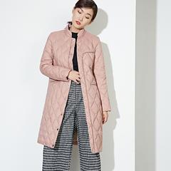 95鹅绒服 百思寒轻薄羽绒服中长款宽松粉色冬季韩版鹅绒服薄款 XL(170/92A) 正点红