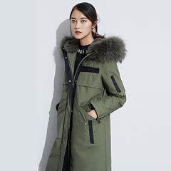 95鹅绒服 百思寒大毛领款过膝保暖防寒风衣鹅绒冬季外套 S(155/80A) 豆沙绿