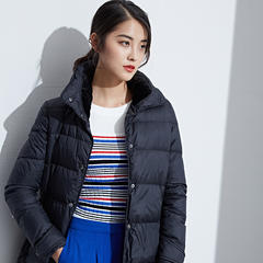 95鹅绒服 百思寒时尚长款冬季韩版鹅绒服潮修身显瘦 XL(170/92A) 墨玉黑
