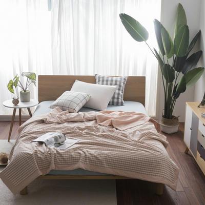 2018新款全棉色织水洗棉夏凉被 150x200cm 粉小格