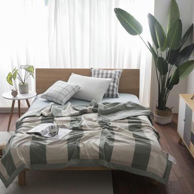 2018新款全棉色织水洗棉夏凉被 150x200cm 绿大格