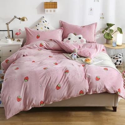 2018新款水晶絨卡通系列四件套 1.2m床 床單款 草莓派對