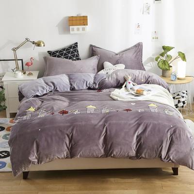 2018新款水晶绒卡通系列四件套 1.8m床床笠款 美丽家园-紫灰