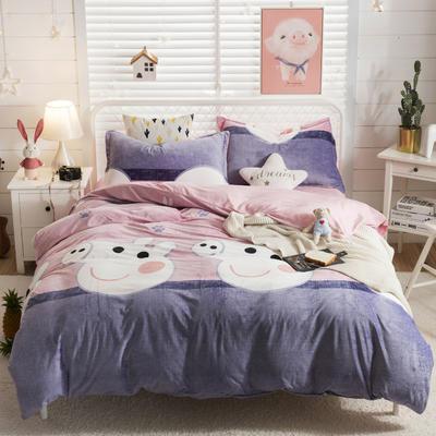 2018新款水晶絨卡通系列四件套 2.0m 床 床單款 佩奇-粉
