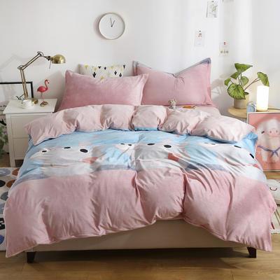 2018新款水晶絨卡通系列四件套 2.0m 床 床單款 佩奇-藍