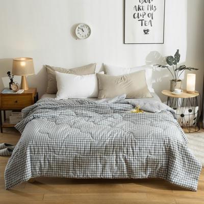 2019新款全棉色織水洗棉棉花冬被 春秋被150x200cm(3.5斤)冬被 藍小格