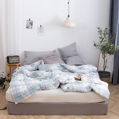 2019新款全棉色织水洗棉棉花冬被 春秋被150x200cm(3.5斤)冬被 莱茵格浅蓝
