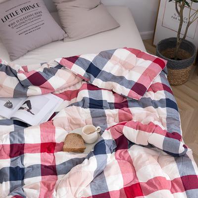2019新款全棉色织水洗棉棉花冬被 春秋被150x200cm(3.5斤)冬被 中格红蓝