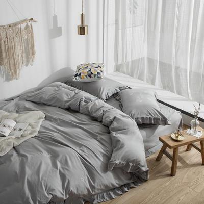 2019新款全棉水洗棉刺绣款四件套 1.8m(6英尺)床 气质灰
