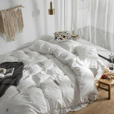 2019新款全棉水洗棉刺绣款四件套 1.8m(6英尺)床 仙女白