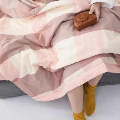 2019新品无印风全棉色织水洗棉棉花夏被四件套 单床单160*230cm 粉大格