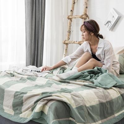2019新品无印风全棉色织水洗棉棉花夏被四件套 单床单160*230cm 绿大格