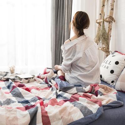 2019新品无印风全棉色织水洗棉棉花夏被四件套 单床单160*230cm 中格红蓝