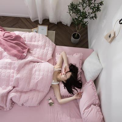 2019公主风褶皱花边水洗棉多功能性四件套床单/床笠款 1.2m床 浅藕粉