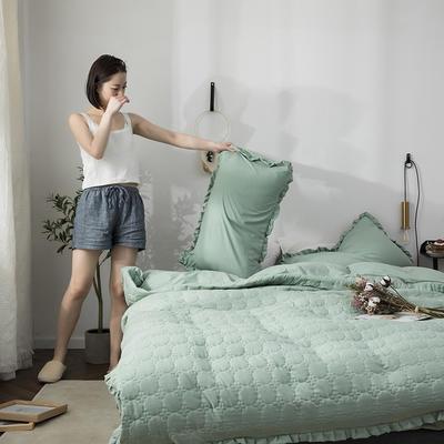 2019公主风褶皱花边水洗棉多功能性四件套床单/床笠款 1.2m床 月白绿