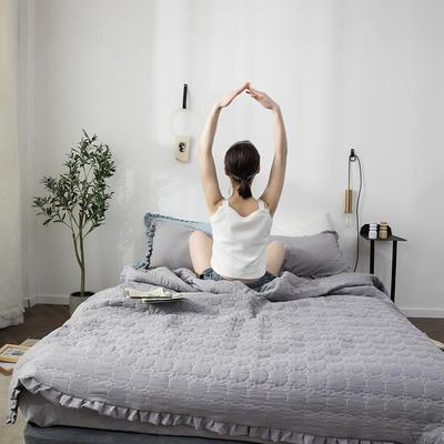 水洗棉褶皺花邊單品被套(可當夏被/床蓋使用) 枕套(一對) 淺蓮灰
