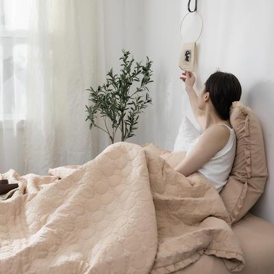 水洗棉褶皺花邊單品被套(可當夏被/床蓋使用) 枕套(一只) 淺米咖