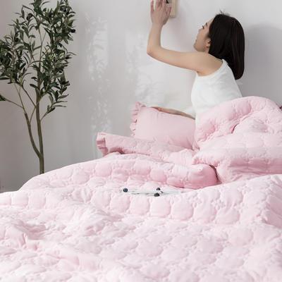 水洗棉褶皺花邊單品被套(可當夏被/床蓋使用) 枕套(一只) 淺藕粉