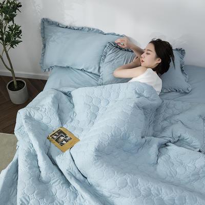 水洗棉褶皺花邊單品被套(可當夏被/床蓋使用) 枕套(一只) 清水藍