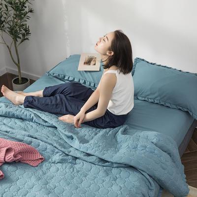 水洗棉褶皺花邊單品被套(可當夏被/床蓋使用) 枕套(一只) 深湖藍