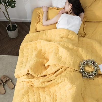 水洗棉褶皺花邊單品被套(可當夏被/床蓋使用) 枕套(一只) 象牙黃