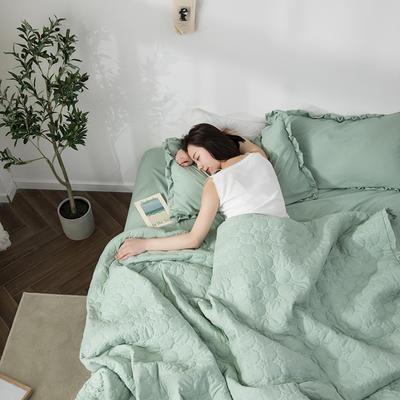 水洗棉褶皺花邊單品被套(可當夏被/床蓋使用) 枕套(一只) 月白綠